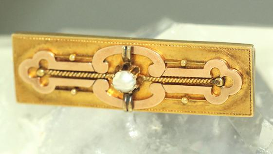 ANTIKE BROSCHE GOLD 585 - ROSEGOLD BROSCHE - UM 1900 - GOLDBROSCHE MIT PERLMUTT