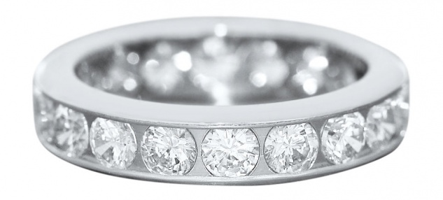 Massiver Memoryring - Weißgold Ring 585 mit Zirkonias - Ring Gold 14 kt Bandring