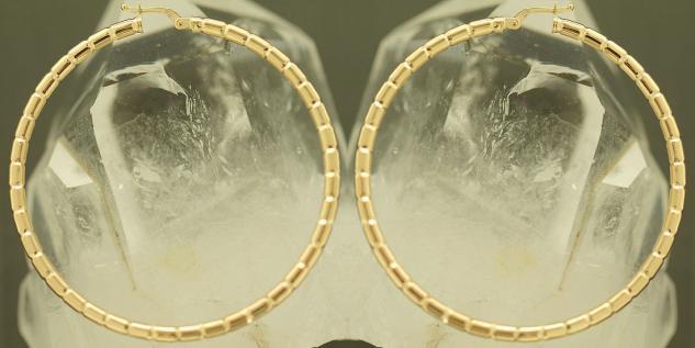5, 6 cm GROSSE CREOLEN GOLD 585 OHRRINGE - GOLDCREOLEN MIT MUSTER - CREOLE