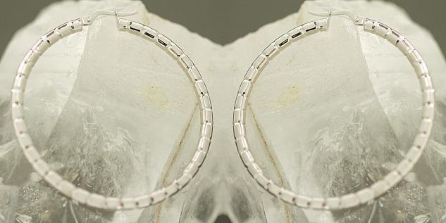 3, 6 cm GROSSE CREOLEN WEISSGOLD 585 - OHRRINGE - TOP DESIGN WEISSGOLDCREOLEN