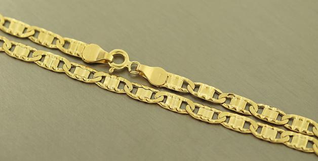 55 CM GOLDKETTE 585 - FLACHE BREITE KETTE GOLD 14 KT - HALSKETTE MIT MUSTER