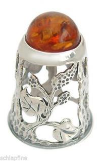 Fingerhut Silber 925 mit Bernstein - Silberfingerhut 925 - Thimble Silver Amber