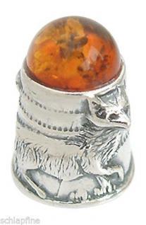 Fingerhut mit Fuchs - Silber 925 mit Bernstein - Silberfingerhut zum Sammeln