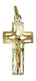 KLEINES BREITES KREUZ GOLD 333 ANHÄNGER KREUZ MIT KORPUS GOLDANHÄNGER GOLDKREUZ
