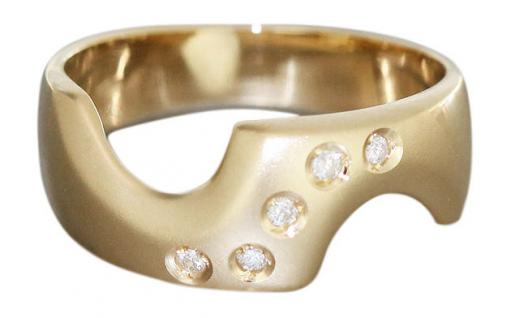 Moderner Goldring 585 mit Brillanten - Ring Gold 14 kt - Damenring Brillantring