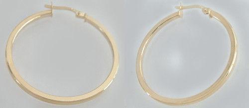 3, 4 CM GROSSE CREOLEN GOLD 585 OHRRINGE - OHRSCHMUCK - GOLDCREOLEN GOLDOHRRINGE