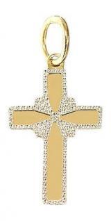 ANHÄNGER KREUZ GOLD 585 - KLEINES GOLDKREUZ IN ZWEIFARBENGOLD 14 KT GOLDANHÄNGER