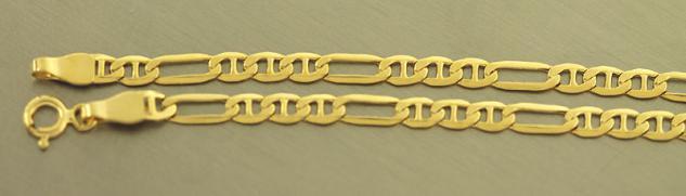 60 CM GOLDKETTE 585 - FIGAROKETTE - KETTE GOLD - MODERNE FLACHE HALSKETTE 14 KT