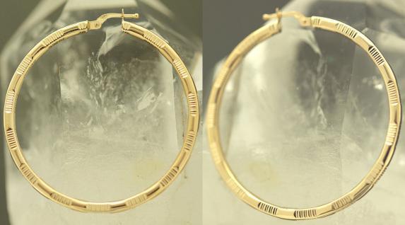 4, 6 cm GROSSE CREOLEN GOLD 585 OHRRINGE - GOLDCREOLEN MIT MUSTER - CREOLE