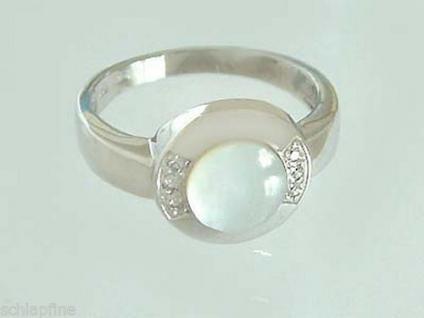 Eleganter Weißgoldring 585 mit Perlmutt und Diamanten - Ring Weißgold 14 kt Gold