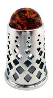 Fingerhut Silber 925 - massiv mit Bernstein - Silberfingerhut zum Sammeln
