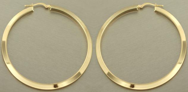 5, 5 cm große Creolen Gold 585 Ohrringe glänzende Goldcreolen Gelbgold Ohrschmuck