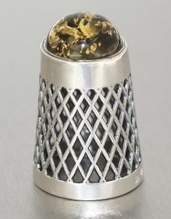 Fingerhut Silber 925 - massiv mit grünem Bernstein - Silberfingerhut zum Sammeln