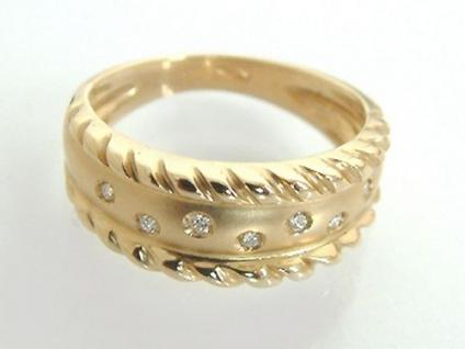 Breiter Goldring 585 - Brillantring - massiver Ring Gold - Damenring m. Brillant