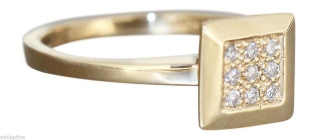 Brillantring Gold 585 - Ring Quadrat Goldring m Brillanten Damenring Diamantring