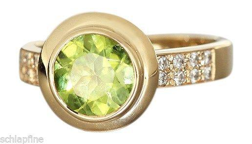 Eleganter Goldring 585 mit Peridot + Brillanten Ring Gold massiv Damenring RW 56