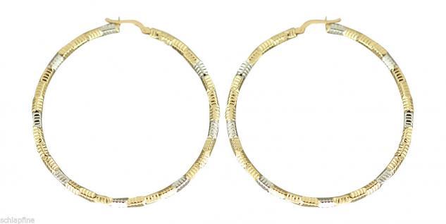 5, 6 cm edle große Creolen Gold 585 - Ohrringe Goldcreolen - Goldohrringe bicolor