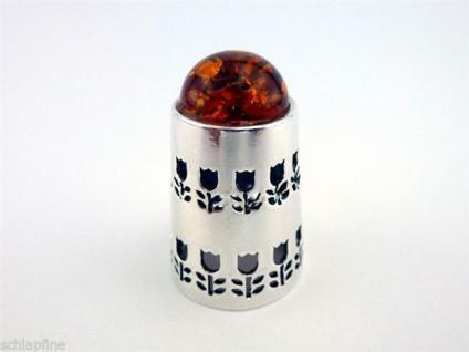 Fingerhut in Silber 925 mit Bernstein und Blumenmuster - Silberfingerhut Silber
