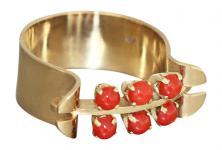 Breiter Goldring 585 / 14 kt mit Koralle - Korallenring - Damenring - Ring Gold