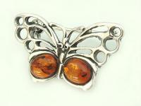 Brosche Silber 925 - Schmetterling m Bernstein Silberbrosche Silberschmetterling