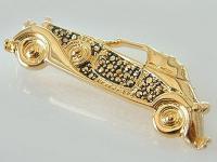 Elegante Brosche Silber - Oldtimer Silber 800 vergoldet - Auto - Silberbrosche
