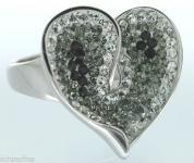 Herz in Schwarz Weiß - großer Silberring 925 m Zirkonias Ring Silber tolle Optik