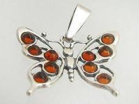 Reizender großer Schmetterling Silber 925 m. Bernstein Anhänger Silberanhänger