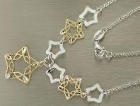 Sternencollier - Silberkette 925 mit funkelnden Sternen - bicolor - Kette Silber