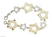 Gold und Silber 925 Stern Armband Silber Sterne Silberarmband massiv Silberkette