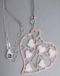 Silber 925 Rosegold Herz mit Perlmutt + Silberkette 2-reihige Kette + Silberherz