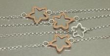 88 cm lange Sternenkette Silber 925 Silberkette mit Rosegold Sternen Kette Stern