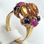 Ring Gold 750 mit Citrin, Rubin und Saphir Cabochons - Goldring 18 kt multicolor