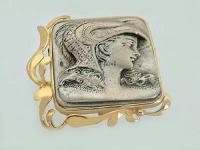Große Brosche Gold 750 mit Schönheit in Silber 925 - Goldbrosche - Silberbrosche