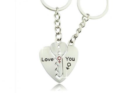 Romantischer Schlüsselanhänger mit Herz und Schlüssel