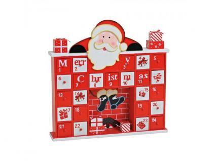 Adventskalender Weihnachtsmann im Kamin rot-weiß