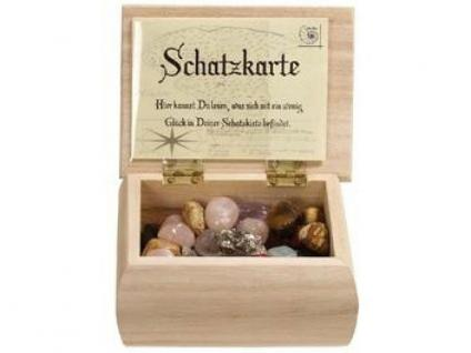 Deko Schatz Holzkiste mit Glückssteinen + Schatzkarte