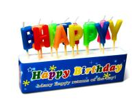 13 bunte Geburtstagskerzen HAPPY BIRTHDAY