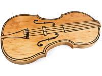 Brotzeit Brett mit Geigenmotiv aus Erle 35, 5 x 19, 5 x 2 cm