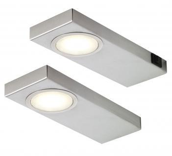 2-er Set LED Küchen Unterbauleuchte je 3, 5 W Edelstahl 210 x 75 x 18 mm *549238