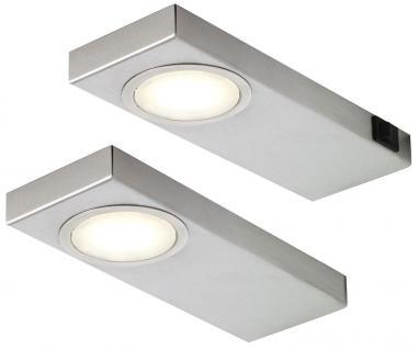 2-er Set Edelstahl LED Küchen Unterbauleuchte je 3, 5 Watt Neutralweiss *549283