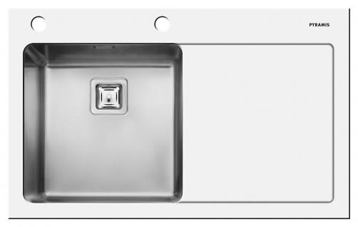 Design Einbauspüle 860x530mm für 50cm Schrank Edelstahl/Glas weiss *Crystalon