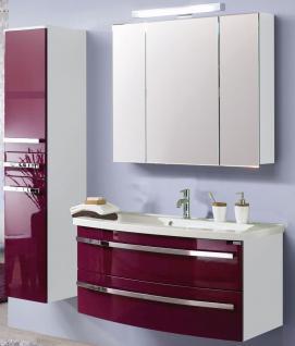 3 Teile Badmöbel Set Waschplatz Becken LED Spiegelschrank montiert *3001-HSL-WB
