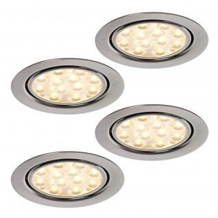 4-er Set LED Schrank Einbau Leuchte Strahler 4 x 3 Watt Edelstahloptik *552191