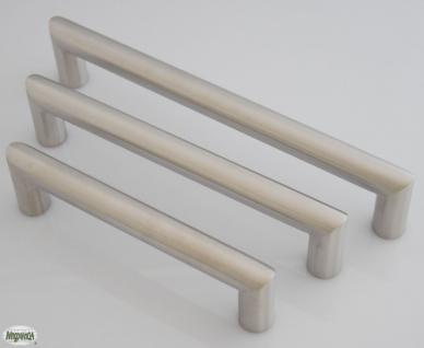 Schrank Tür Küchen Möbelgriff BA 128, 160, 192 mm Edelstahl gebürstet Ø 16 mm *815