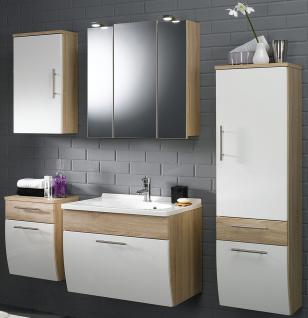 5 Teile Badmöbel Set Badset Waschplatz 70 cm LED Spiegelschrank Hochschrank*5016