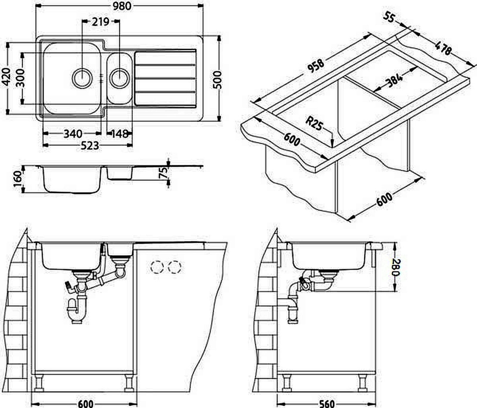 alveus einbau k chensp le 980 x 500 mm edelstahl abwasch sp lbecken line 10 kaufen bei. Black Bedroom Furniture Sets. Home Design Ideas