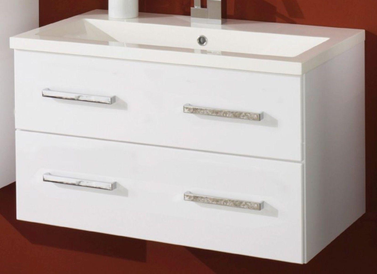 4 tlg badezimmer set waschplatz led spiegelschrank badschrank