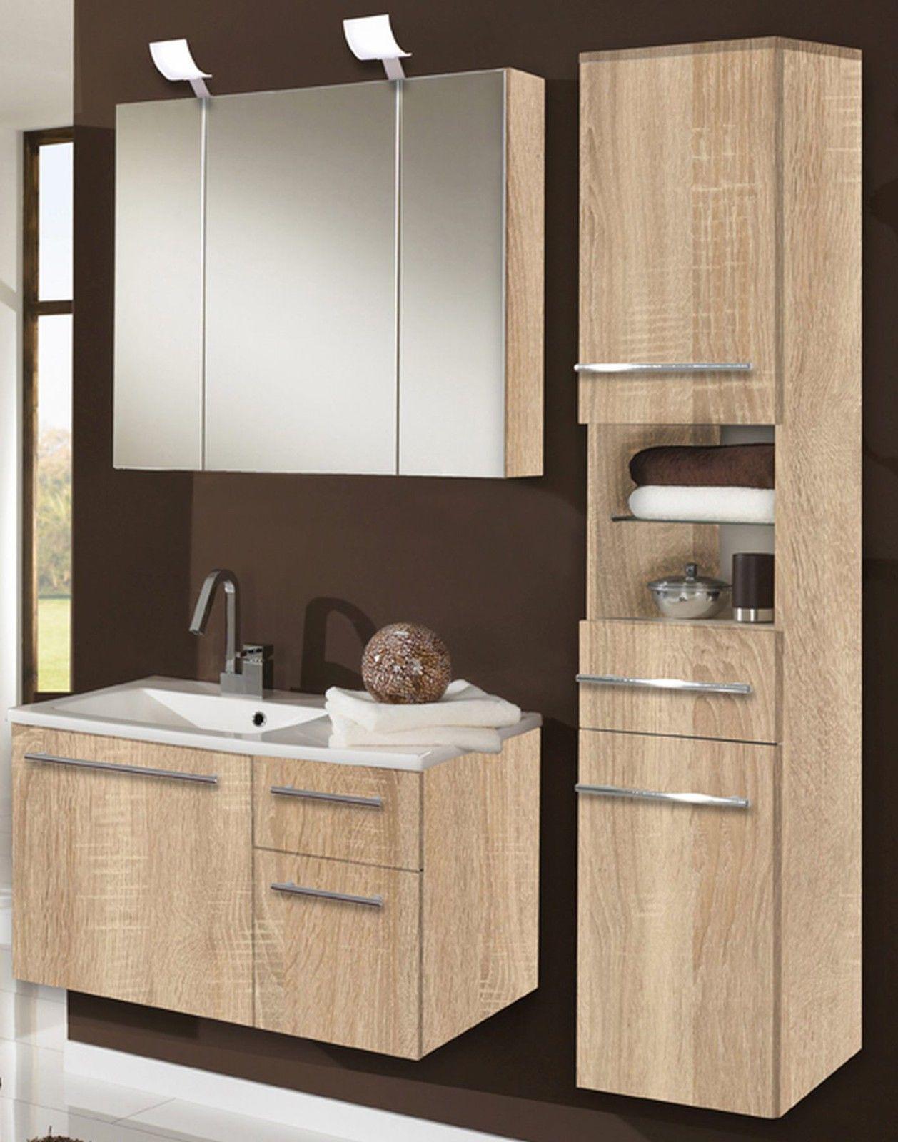 3 tlg badset badmöbel badezimmer waschplatz spiegelschrank