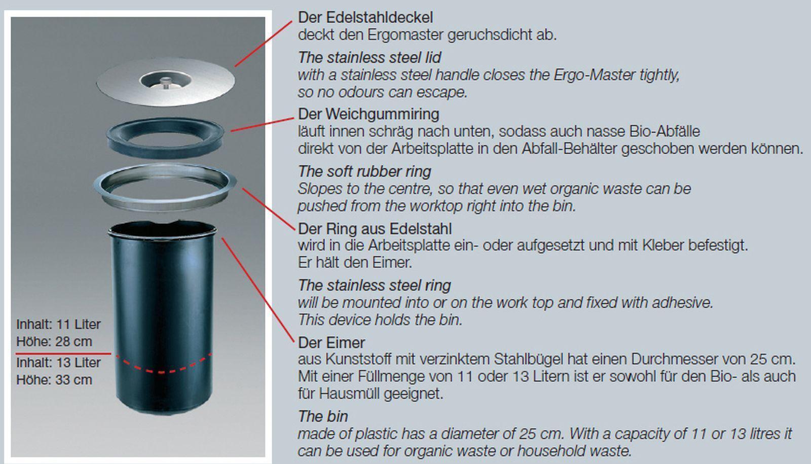 wesco ergomaster komposteimer 13 liter arbeitsplatten bio