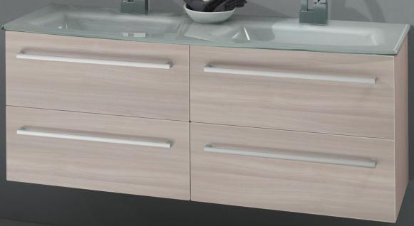 Doppelwaschplatz 130 cm Doppelwaschtisch Glasbecken Metallzargen *DWPJoPH.LP